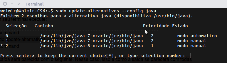 saída do update alternatives do java