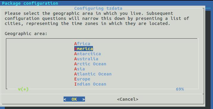 Seleção de fuso horário no Ubuntu